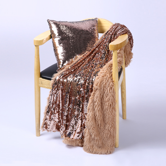 Fancy Thick Polyester Pv Fleece Sequin Blanket Throw